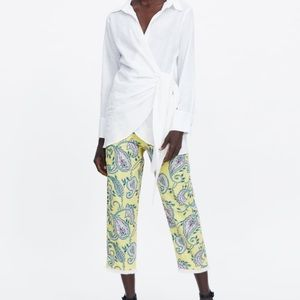 Zara printed pants with fringed hem